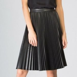 Lavender Brown Faux Leather Pleated Skirt Black